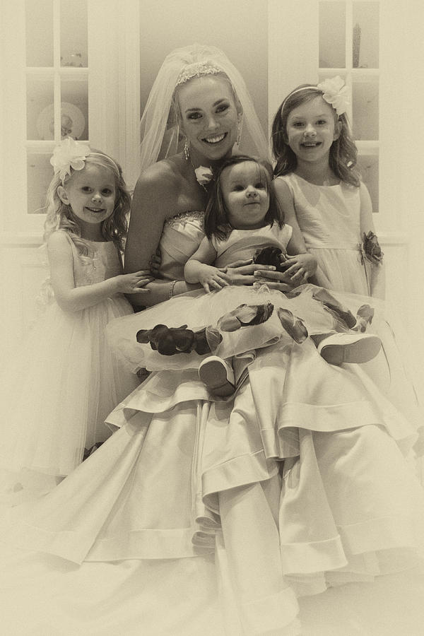Vintage Photograph - The Flower Girls by David Patterson