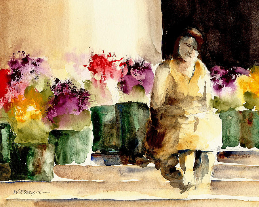 Cityscape Painting - The Flower Lady by William Beaupre