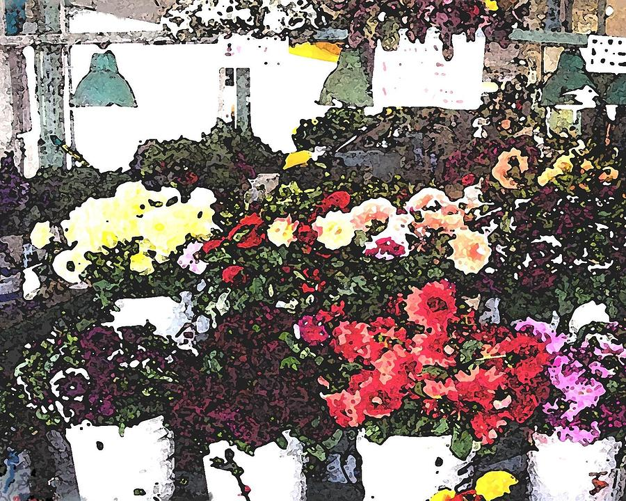 Seattle Mixed Media - The Flower Market by James Johnstone