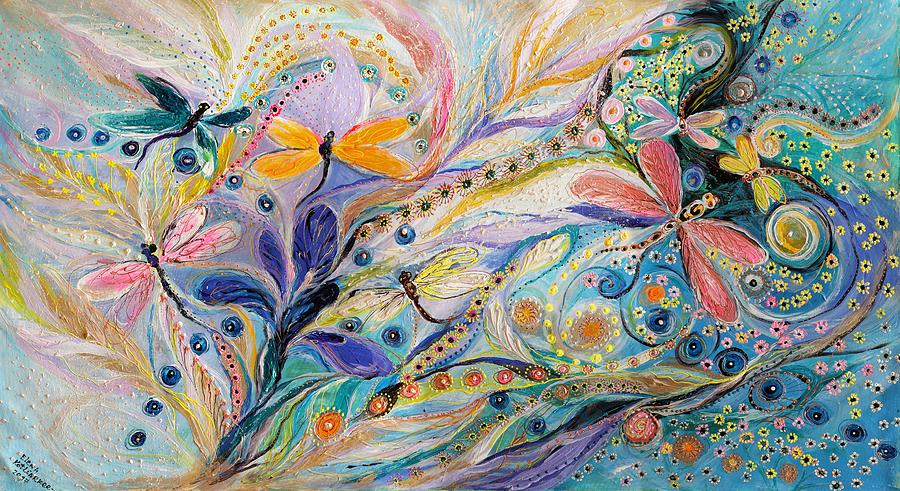 Judaica Store Painting - The Flowers And Dragonflies by Elena Kotliarker