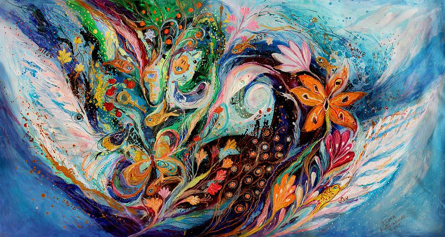 Judaica Store Painting - The Flowers And Sea by Elena Kotliarker