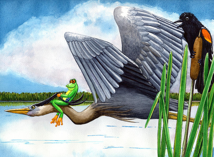 Birds Painting - The Fly By by Catherine G McElroy