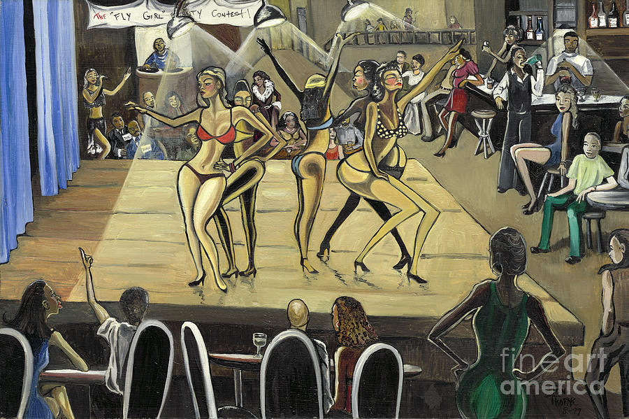 Caricature Painting - The Fly Girl Beauty Contest by Toni  Thorne