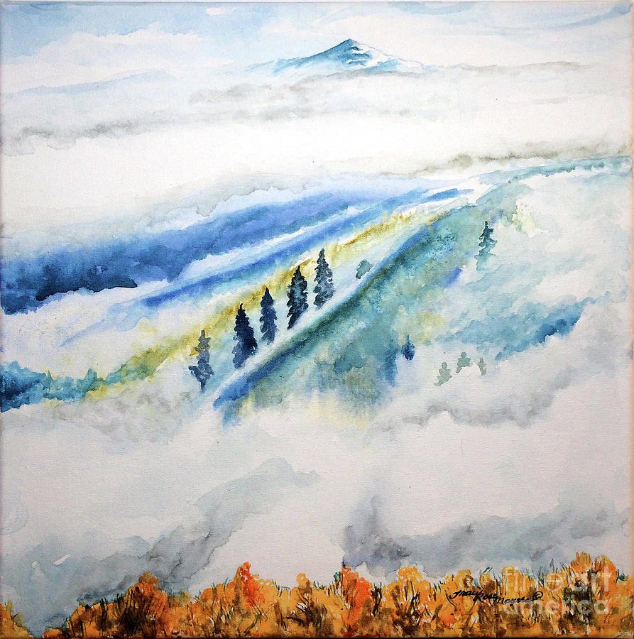 Trees In Fog Painting - The Fog by Tracy Rose Moyers