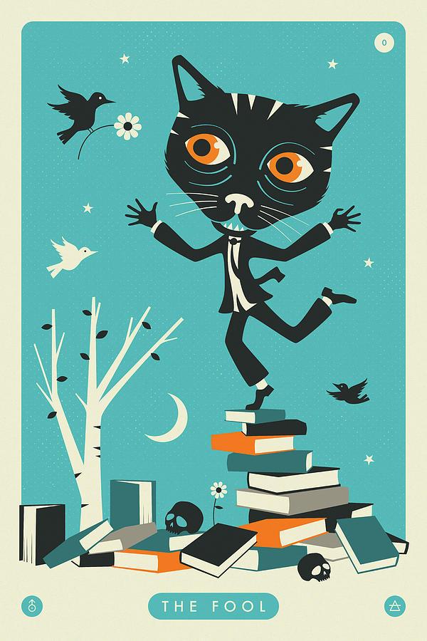 Tarot Digital Art - The Fool Tarot Card Cat by Jazzberry Blue