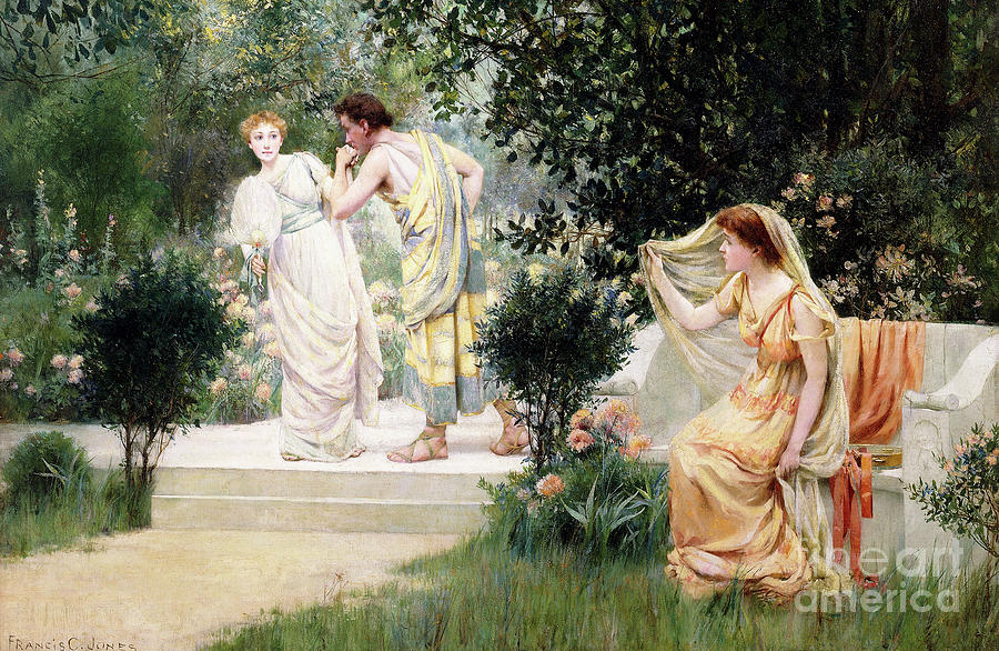 Bench Painting - The Forbidden Kiss by Francis Coates Jones