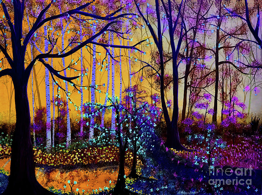 Yellow Background Painting - The Forest - Yellow Pond  by Heather McKenzie