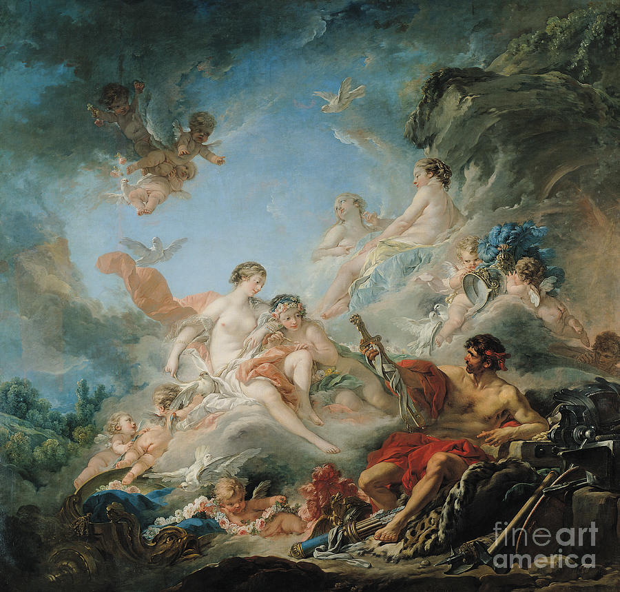 The Painting - The Forge Of Vulcan by Francois Boucher