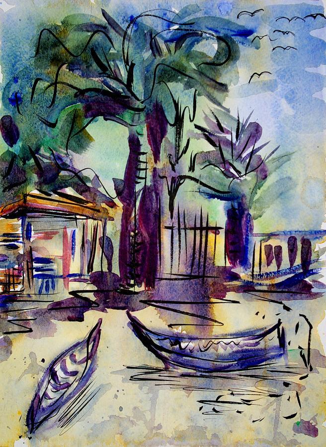 Canoe Painting - The Forgotten Island by Liliana Andrei