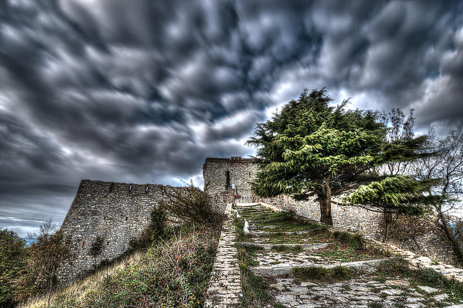 Hiking Photograph - The Fortress The Tree The Clouds by Enrico Pelos