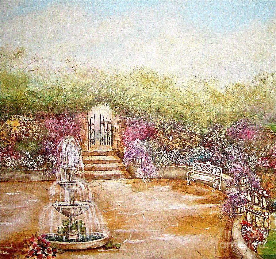 Fountain Painting - The Fountain by Elizabeth Gomez