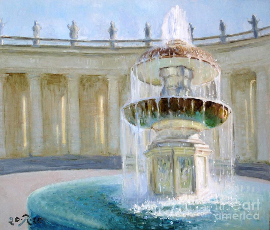 Vatikan Painting - The Fountain piazza St Petro by Raimonda Jatkeviciute-Kasparaviciene