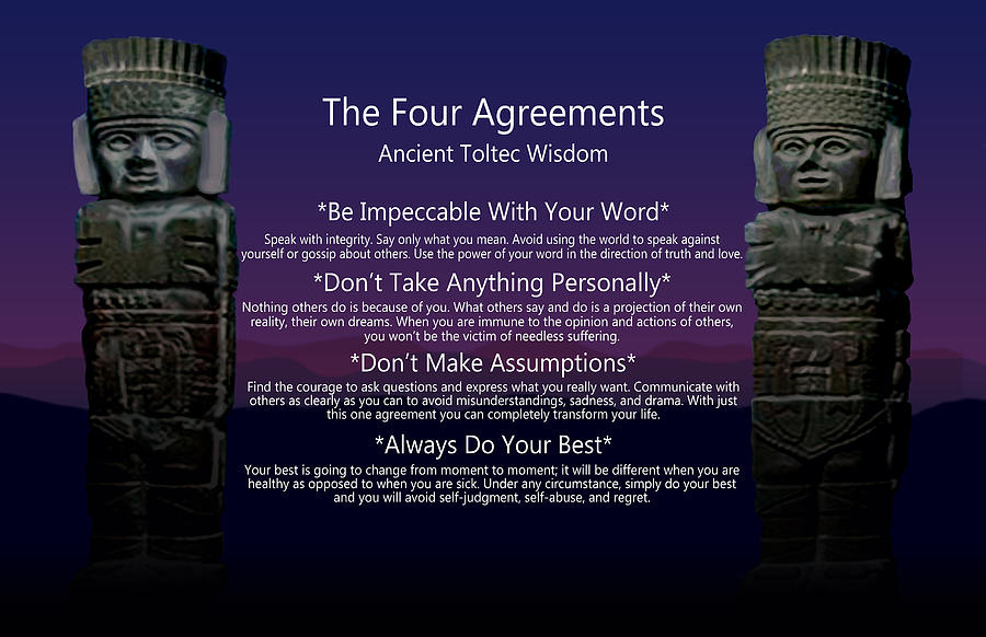 The Four Agreements Poster Digital Art By Spadecaller