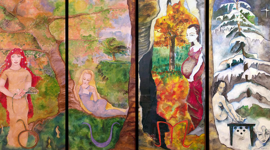 Seasons Painting - The Four Seasons by Erika Brown