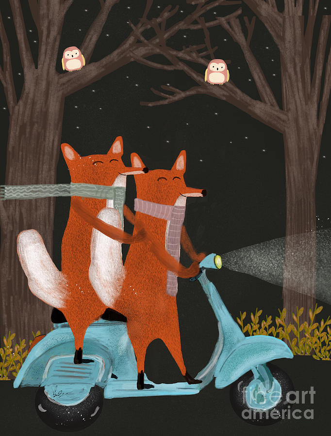 Foxes Painting - The Fox Mobile by Bri Buckley