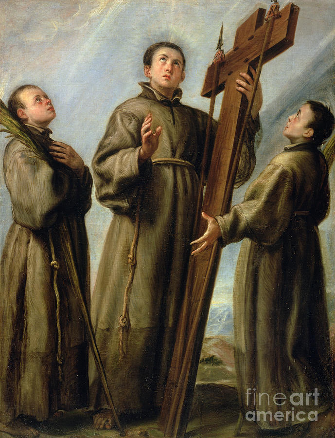The Painting - The Franciscan Martyrs In Japan by Don Juan Carreno de Miranda