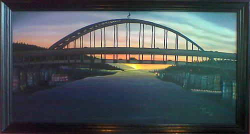 The Fremont Bridge At Night Painting by Portland Art Creations