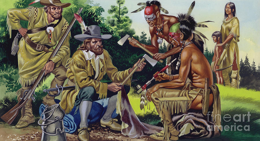 Trade Painting - The French In Canada, Trading For Fur With The Native People by Ron Embleton