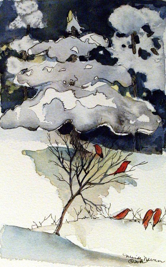 Winter Drawing - The Friendly Pine Tree Watches by Mindy Newman