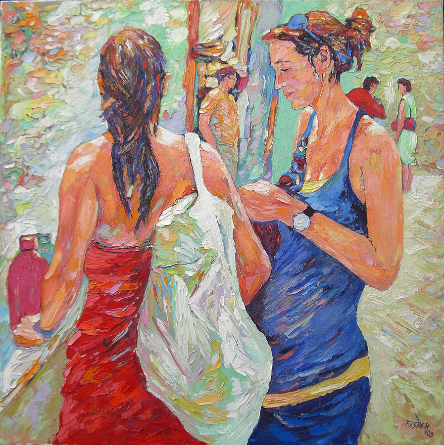 Painting Knives Painting - The Friends by Abraham  Fisher