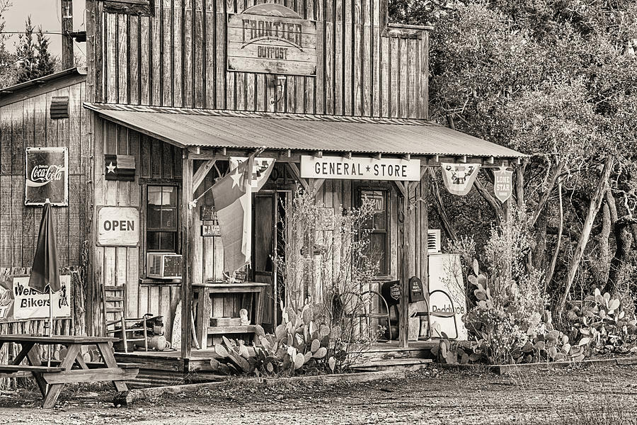 General Store Photograph - The Frontier Outpost General Store Black And White by JC Findley