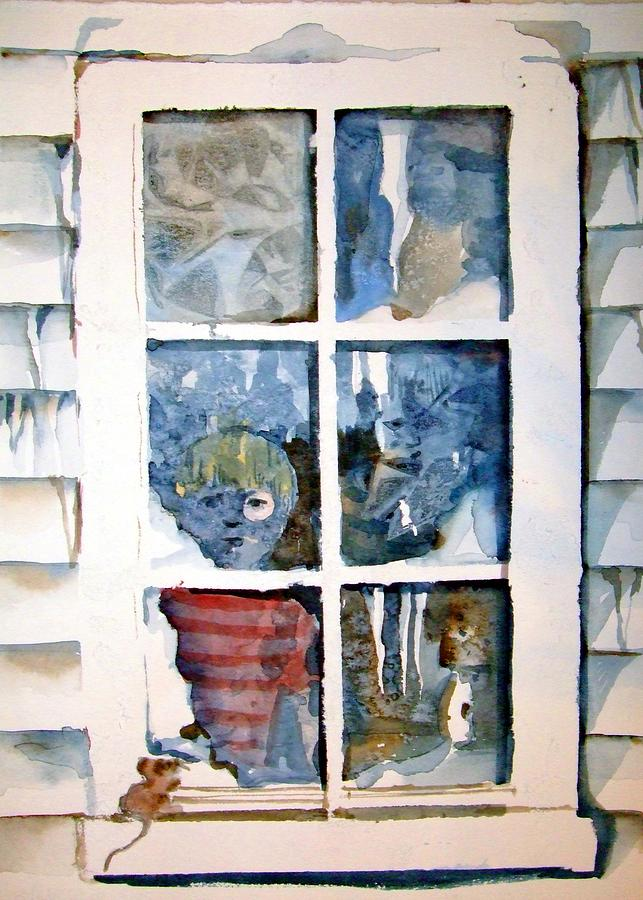Boy Painting - The Frosty Peep Hole by Mindy Newman