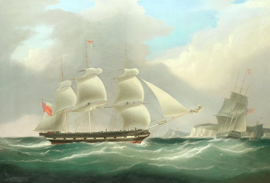 The Full-rigged Merchantman Annandale Heaving-to For The Arrival Of The  Pilot Cutter by William John Huggins