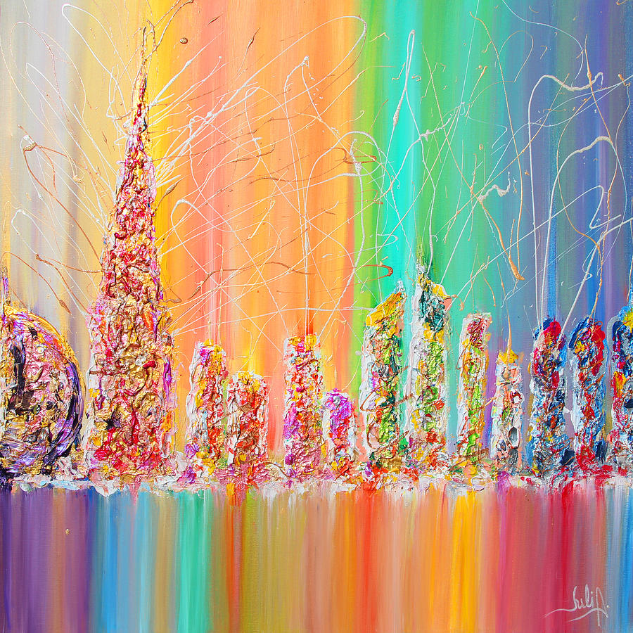 Rainbow Abstract Painting - The Future City Abstract Painting  by Julia Apostolova