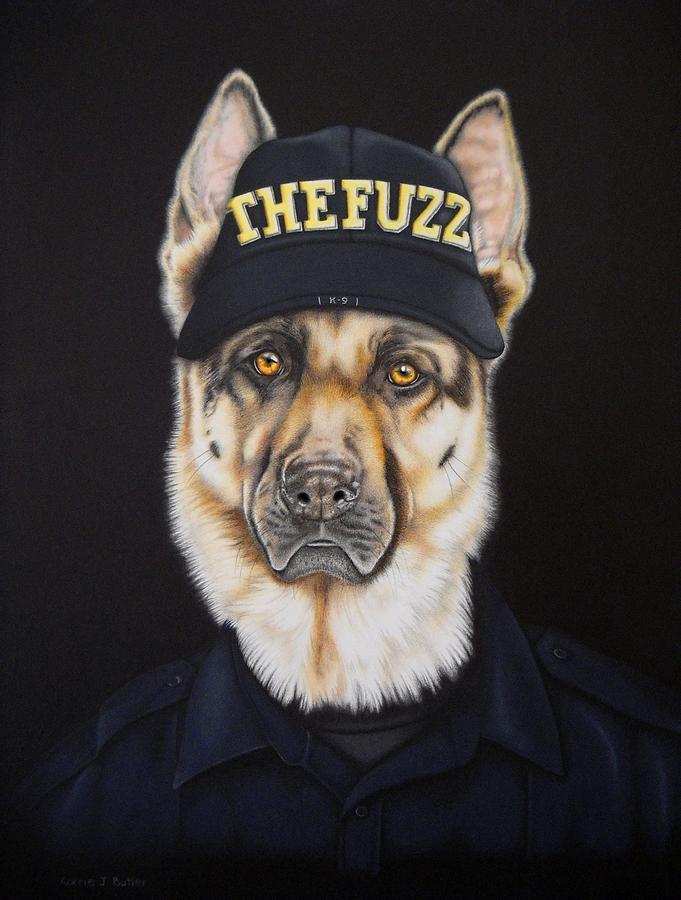 German Shepherd Painting - The Fuzz by Karrie J Butler