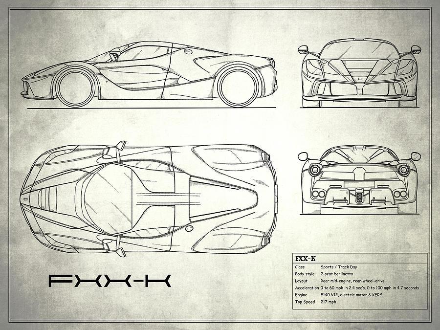 The fxx k blueprint white photograph by mark rogan car photograph the fxx k blueprint white by mark rogan malvernweather Images
