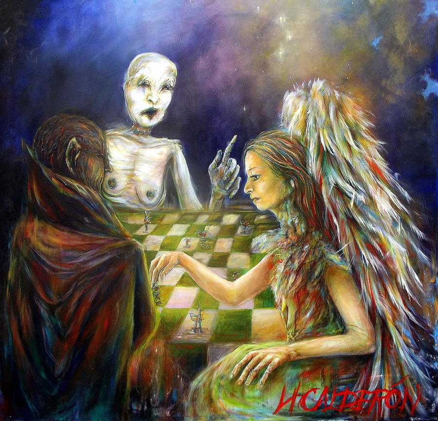 Angels Painting - The Game by Heather Calderon