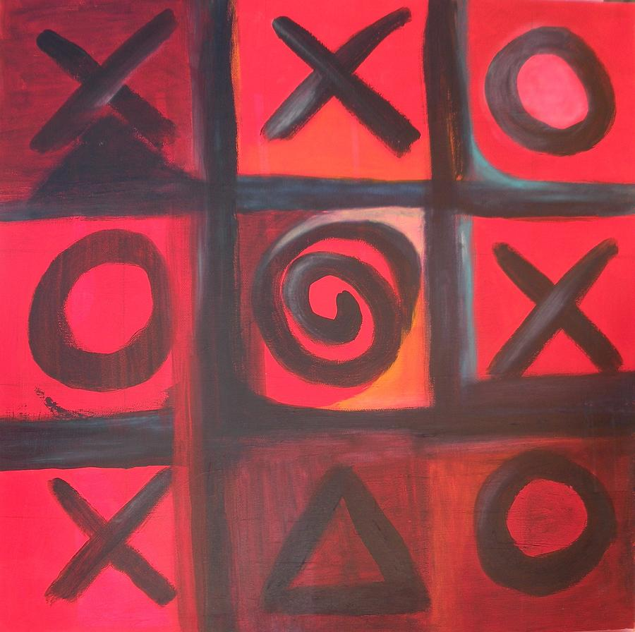 Tic Tac Toe Painting - The Game Is Fixed by Andrea Friedell