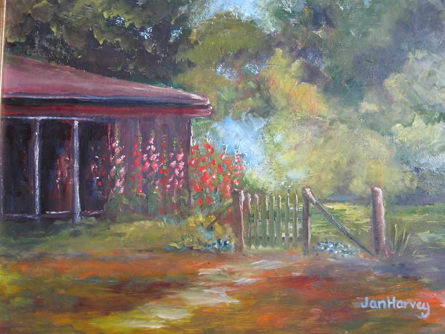 Flowers Painting - The Garden Gate by Jan Harvey