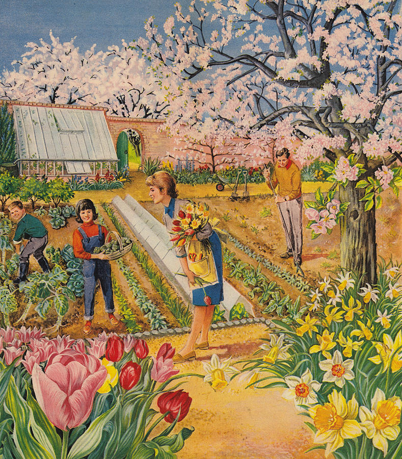 Spring Painting - The Garden In Spring by English School
