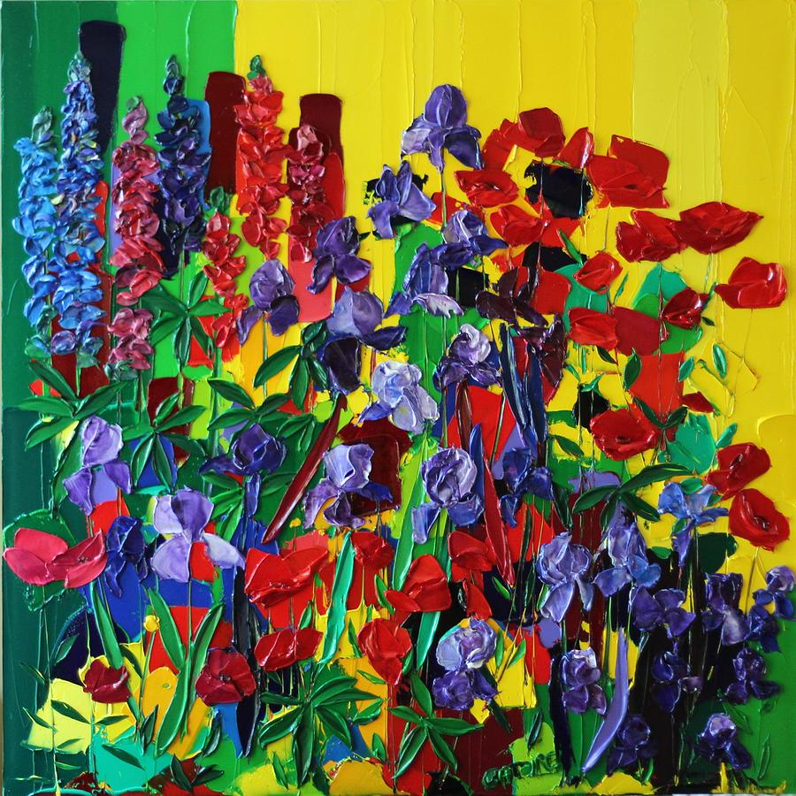 The Garden Of Irises Painting by Valerie Catoire