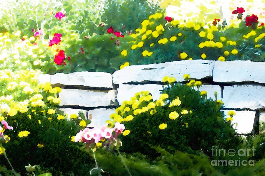 Botanical Digital Art - The Garden Wall by David Blank
