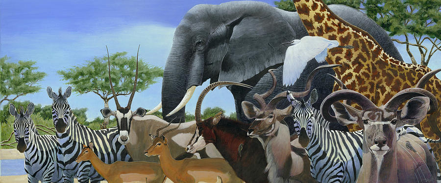 Elephant Painting - The Gathering by Durwood Coffey