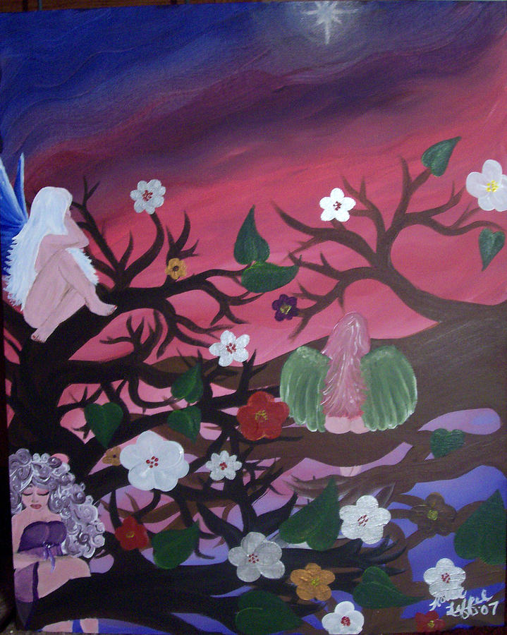 Fairy Painting - The Gathering by Hollie Leffel