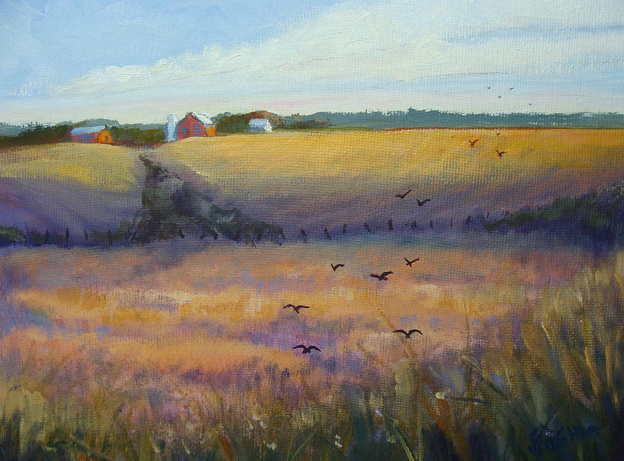 Crows Painting - The Gathering by Judy Fischer Walton