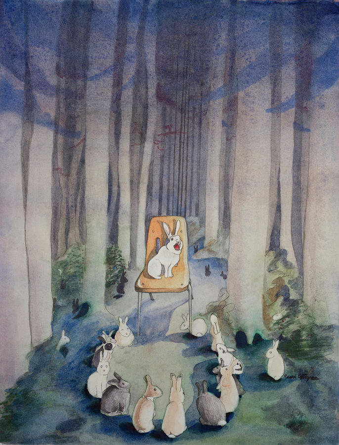 Rabbits Painting - The Gathering by Rachel Osteyee