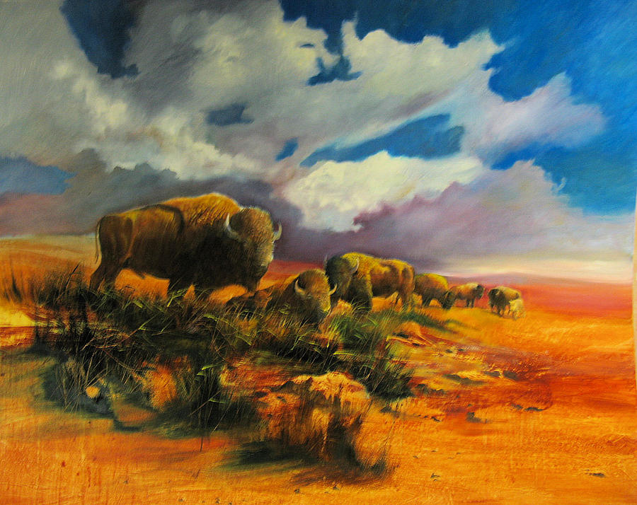 Bison Painting - The Gathering by Robert Carver