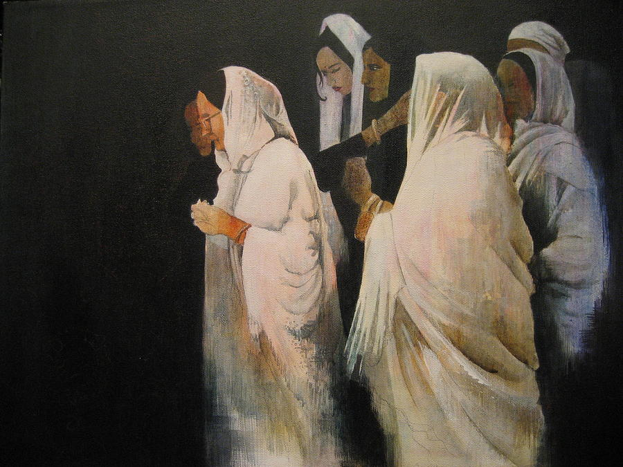 Indian Painting - The Gathering by Victoria Heryet