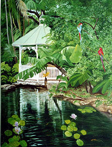 Landscape Painting - The Gazebo by Maxine Schreiber