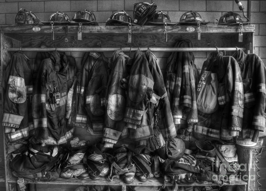September 11 Photograph - The Gear Of Heroes - Firemen - Fire Station by Lee Dos Santos