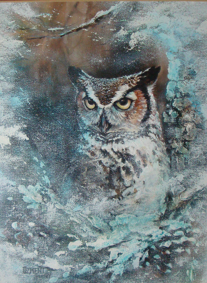 Owl Painting - The General by Joan Ozment