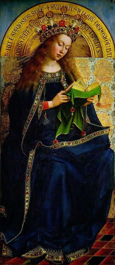 The Painting - The Ghent Altarpiece The Virgin Mary by Jan and Hubert Van Eyck