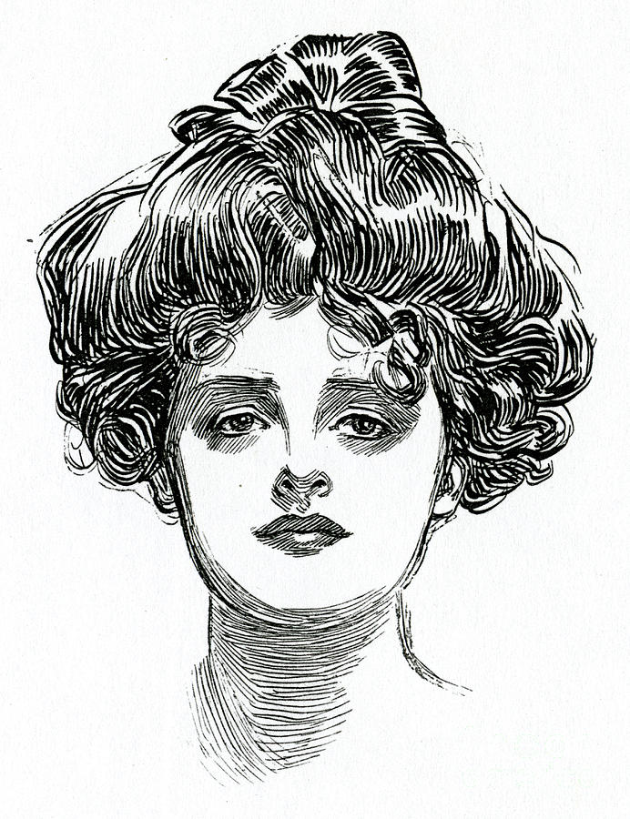 Gaze Drawing - The Gibson Girl by Charles Dana Gibson