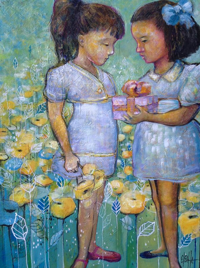 Girls Painting - The Gift by Eleatta Diver