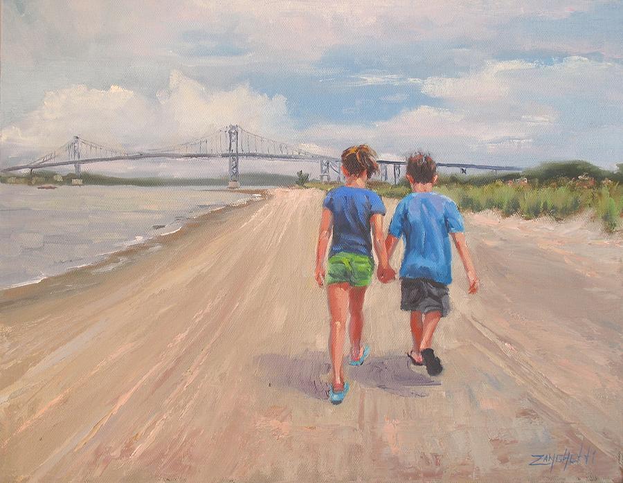 Beach Scene Painting - The Gift Of Love by Laura Lee Zanghetti