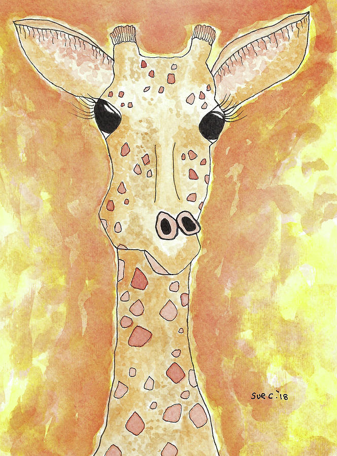 Watercolor And Ink Painting - The Giraffe by Susan Campbell